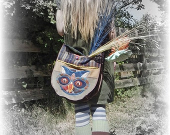 Owl Shoulder Bag Crossbody Recycled Messenger College Upcycled Hobo Folk Rustic Woodland Beige Chic Quirky Bird Repurposed Eco Friendly OOAK