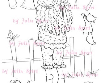Digital Stamps, Digi, Scrapbooking printable, Children stamps, Coloring pages, Washing, Cute girl, Cat. Girl hanging out the washing