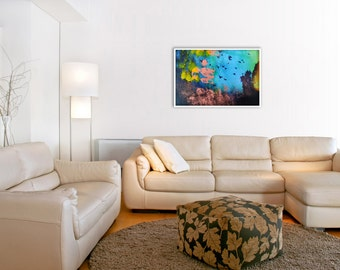 Abstract Landscape GICLEE PRINT of Photo-Painting Digital Collage 'Aquarium'