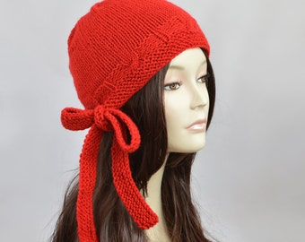 Handmade Knitted Hat With Bow, Winter Hat, Womens Knit Hat, Womens Beanie, Beanie for Women, Knit Beanie Hat, Womens Hat