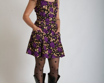 SALE!!! Tattoo clothing//Pin Up//Roses//Woman dress//Vintage inspired dress//60s//Retro clothing//Glam'Rock//MAJORETTE PurpleRoses//MIMISAN