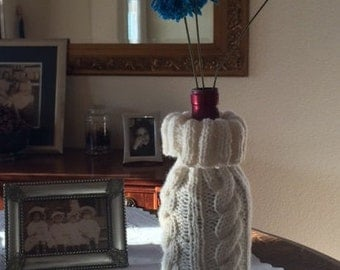 Knitted Cabled Wine Bottle Cover