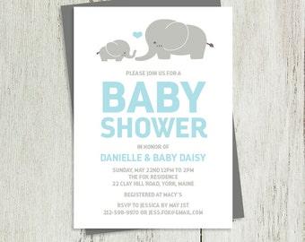 Elephant Baby Shower Invitation DIY // Gray and Blue // Gray Elephant, Baby Blue Heart // Printable PDF ▷ It's a Boy Baby Shower Invite