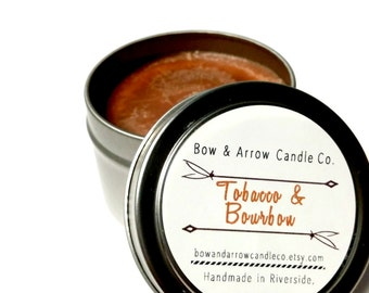 2 oz Natural Soy Candle Tobacco & Bourbon Scented | 2 oz Tin Candle | Tobacco Soy Candle | Masculine Candle | Bourbon Scented | Gift Idea