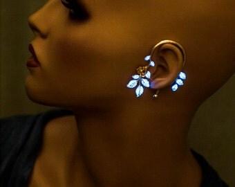 Statement Ear-Cuff Glow-in-The-Dark Girlfriend Gift Leaf Ear Cuff Silver Boho Earring Glowing Earring Gold ear cuffs no piercing Leaves