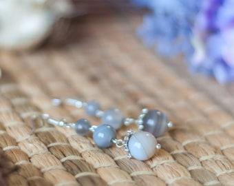 Grey earrings, Gray earrings, Grey drop earrings, Grey dangle earrings, Grey agate earrings, Gray drop earrings, Gray dangle earrings