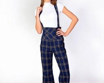 """Woman overalls """"Square"""", check overalls, blue check overalls, ladies overalls, ladies pants"""