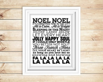 Christmas Carol - Holiday Printable - Lyrics - Instant Download - Digital Typography Print - Christmas Sign - Xmas - Noel - 8x10 - Wall Art