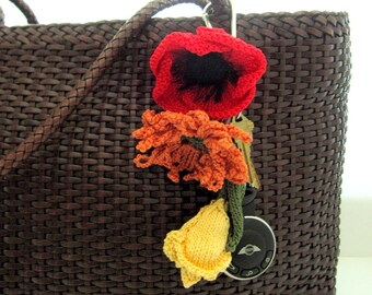 Knit Flower Key Chain / Key Ring / Luggage ID - Choice of Flower and Color(s)