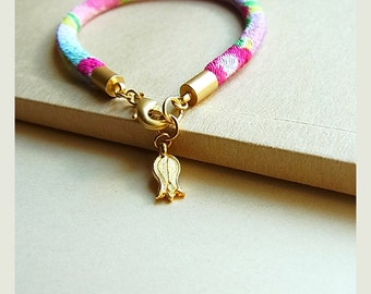 Japanese Kimono Cord Bracelet // Peonies on Pastels // Turkish Gold Tulip Charm // Matte Gold End Caps & Clasp // Small Size