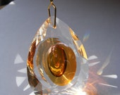 "Amber & Clear CRYSTAL faceted glass 50mm ""Dragon Eye"" PRISM suncacher XMAS ornament Feng Shui window dangle"