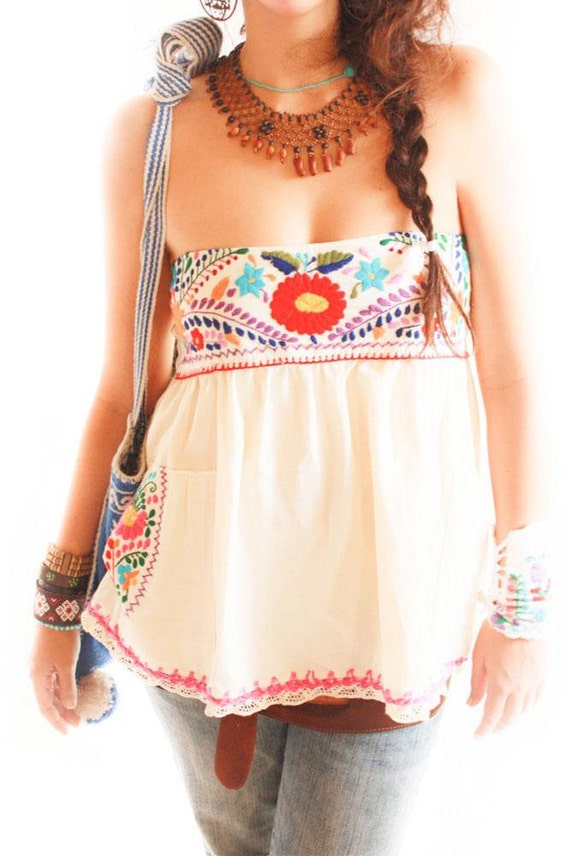 Mexican embroidered blouse mini skirt by aidacoronado on etsy
