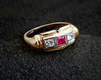 Art Deco Ruby Ring: 14k white and yellow gold, synthetic ruby, imitation diamond, 1930s jewelry, antique ring, vintage two tone ring, size 6
