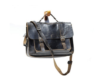 Distressed Black Leather Briefcase