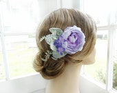 purple hair clip, purple hair comb, lavender hair clip, purple hair flower, light purple, bridesmaid hair accessories, garden wedding hair