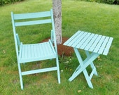 Turquoise Wood Folding Chair and Side Table End Table Patio Garden Set
