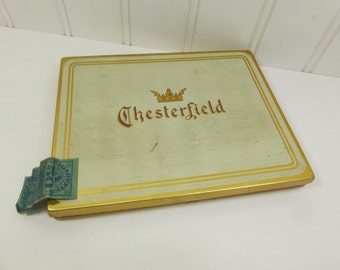 Vintage Chesterfield Tobacco Tin, White and Gold Cigarette Tin, Blue Tobacco Tax Stamp, Liggett & Myers, Cigarette Tobacco