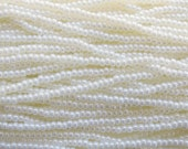 6/0 Opaque Off White Pearl Czech Glass Seed Bead Strand (CW132)