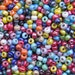 9x6mm (3mm hole) Opaque Assorted Colors Luster Mix Glass Crow Beads 20 Grams (AS4)