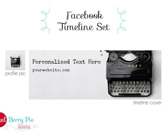 Vintage Typewriter on White // Facebook Timeline Cover Image for Branding // Premade Cover Design & Profile Picture (Business card option)