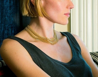 Textured Layering Necklace Chain, Wide Chain Layering Necklace Statement, Women's Gold Chain Necklace, Layered Set Fishtail Chain