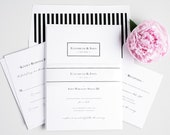 Wedding Invitation Suite, Simple, Black, White, Clean, Simple, Striped, Black Tie - Boxed Monogram Wedding Invitations - Deposit