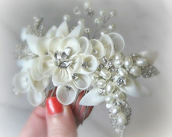 Ivory Bridal Comb, Swarovski Crystals and Pearls, Organza Hair Flowers, Hair Vine - ISOLDE