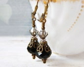 Victorian Black Earrings Romantic Black Crystal Earrings Clear Swarovski Crystal Dangles Goth Steampunk Vintage Inspired Antique Brass Gift