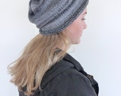 Slouchy Grey beanie , Grey hand knitted slouch beanie , slouch hat