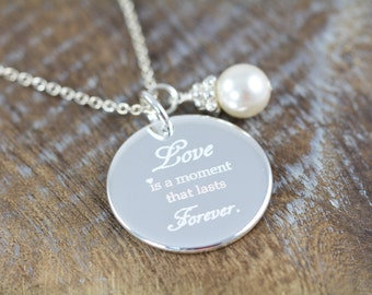 3 Bridesmaids Necklaces Personalized Engraved Love Quote Pendant, 925 Sterling Silver