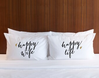 Pillowcases Wedding Gift for Couple - Happy Wife Happy Life Pillow Case Set Glitter - Wedding Gift for Bridal Shower (Item - PWL400)