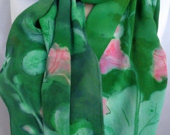 silk scarf long large crepe Hollyhock hand painted emerald green pink floral unique wearable art women fashion accessory