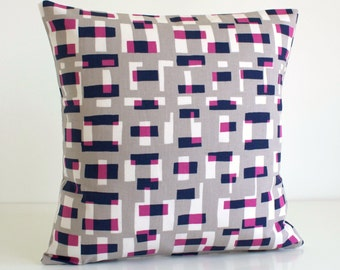 Pillow Cover, Decorative Cushion Cover, 16x16 Pillow Sham, 16 Inch Sofa Pillow, Pillowcase, Decorative Pillows - Graphic Blocks Wild Orchid