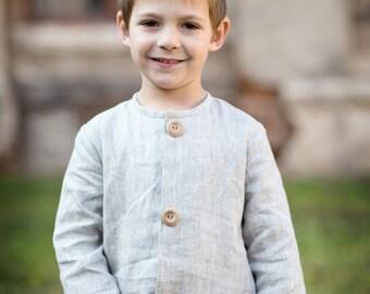 Boys linen shirt - Toddler boy shirt - Boys summer shirt - Weddings boys shirt - Ring bearer shirt - Linen boy outfit - Toddler linen shirt