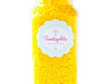 8oz (1 cup) Bottle Bright Yellow Jimmies, Gluten-Free, Vegan, Skinny Sprinkles, Yellow Sprinkles, Canadian Sprinkles -- Med (8oz)