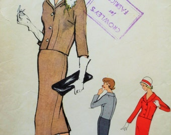 Vintage Vogue 4881, 1950s Suit Pattern, Vogue Special Design, Slim Skirt, Sew In Label Vogue Label, Bust 34, 1950s Sewing Pattern, Chic Suit