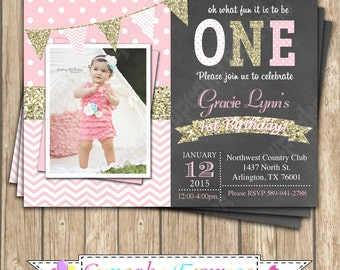 One First Birthday girl coral pink gold PRINTABLE chalkboard Invitation #5  chevron polka dot glitter 1st birthday 1030