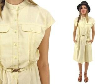 Vintage 70s Shirt Dress, Boho Dress, Secretary Dress, Linen Dress, 70s Dress Δ size: sm / md