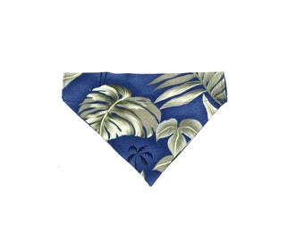 Medium Blue Hawaiian Slip On Dog Bandana Over the Collar
