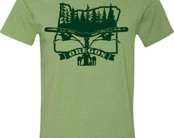 Mountain Bike T-shirt-BIKE OREGON-Bicycle T-shirt, Heather Green-Oregon Bicycle Tshirt,bike gift,bike tshirt,cycling gift,mountain bike gift