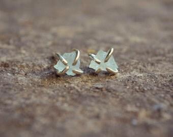 Aquamarine Earrings Raw Aquamarine Crystal Stud Earrings Sterling Silver Prong Claw Pale Blue Stone Earrings Chakra Gemstone