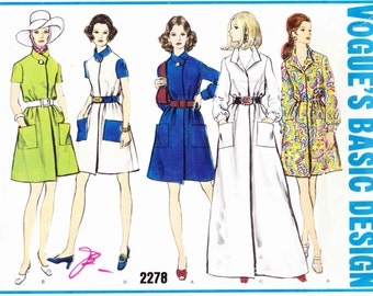 Vogue 2278 Front wrap dress patch pockets collar or buttoned band short or floor length Size 10 Vintage uncut sewing pattern