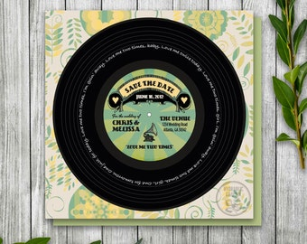 Save the Date Record for Wedding, Wedding Invitation, Retro Wedding Invitation Printable, Record Save the Date Cards, Rock n Roll Invitation