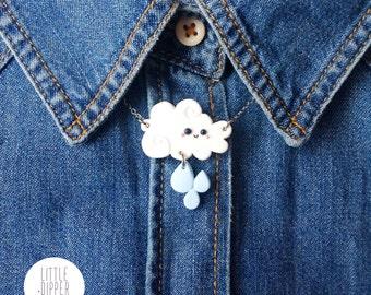 Happy Rain Cloud Necklace - polymer clay jewelry