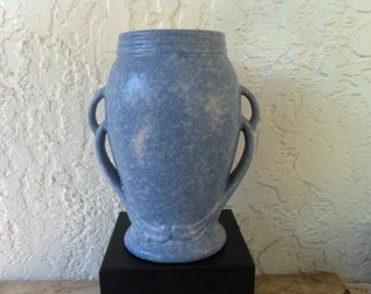 Vintage Vase, 1920's, Sensuous Double Handles, Blue Victoria Glaze, RRPCo Robinson Ransbottom, Roseville Ohio, pottery vase, Free Shipping