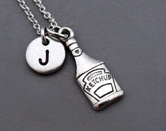 Ketchup Necklace, Tomato Ketchup charm, Ketchup bottle, tomato sauce, red sauce, initial necklace, personalized, monogram