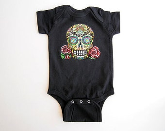 Punk Hipster Baby clothes | Skull Roses Tattoo 3 6 9 12 month  kids romper | Bones Nelson