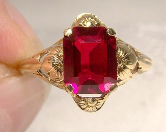 10K Art Nouveau Synthetic Ruby Ring 1910 1920 10 K Flower Size 5-3/4 Eatons