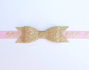 1st Birthday Headband | Pink and Gold 1st Birthday Headband | Baby Girl 1st Birthday Headband | Gold and Pink Baby Birthday Headband | One