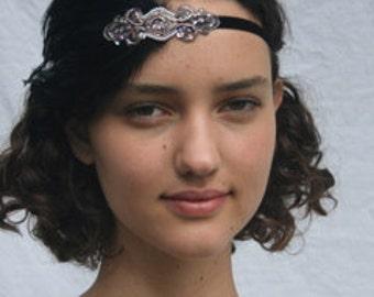 Bronze 1920s Headband, Beige Feather headpiece, Black Feather, Art deco Great Gatsby Fascinator, Stretch Elastic Velvet Fascinator Dress